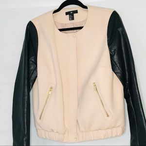 H&M Pink Bomber Zip Up Jacket Faux Leather Sleeves